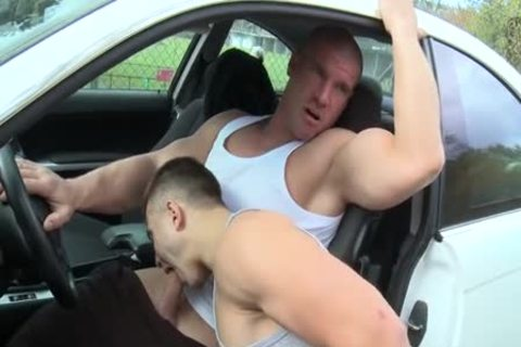 Muscle twinks Outdoor Car plow