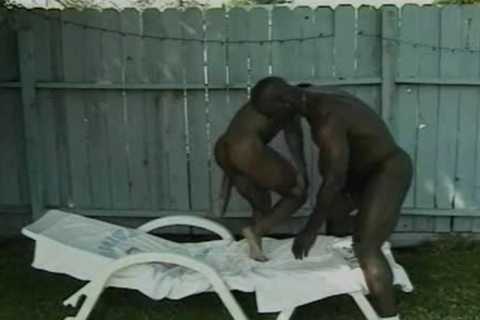 Four black males fucking Out Back